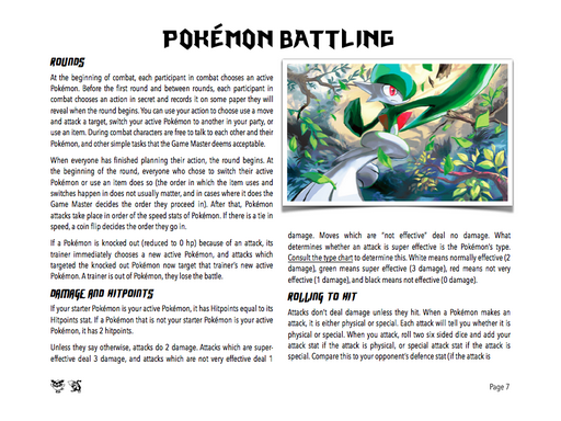 Pokemon, Pen, & Paper - A Table Top Roleplaying Game! Screenshot